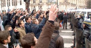 According to americablog.com, anti-gay demonstrators in Paris give the fascist salute while confronting police during an anti-gay-marriage protest.