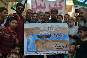 "A message from the liberated town of Kafranbel, Syria to the world about the planned ""Geneva 2"" talks."