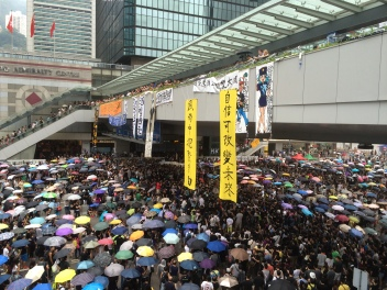Oct. 4, 2014 - Protesters of the Hong Kong's Occupy Central with Love and Peace Movement